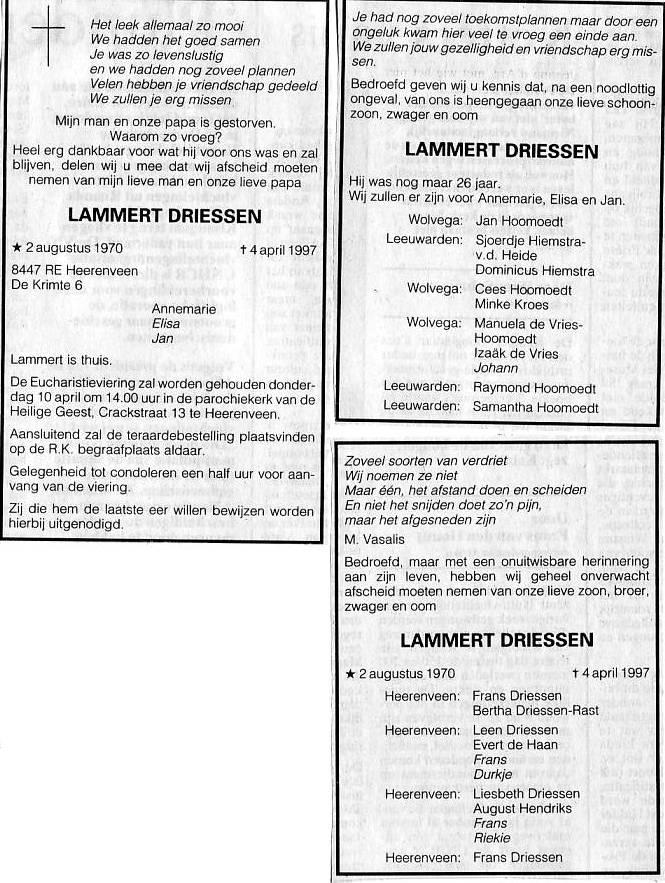 Overlijden Lammert Driessen Op 4 April 1997 Open Archieven