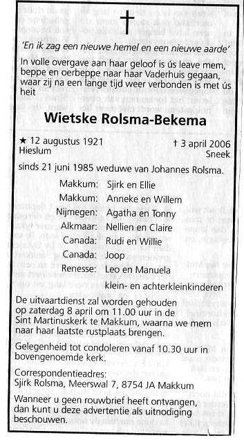 Overlijden Wietske Bekema Op 3 April 2006 Te Sneek Open