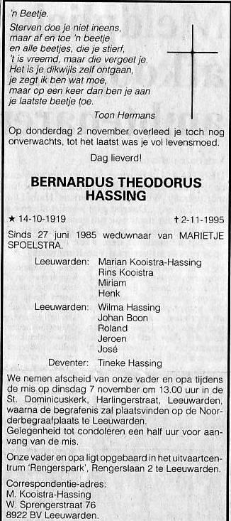 Overlijden Bernardus Theodorus Hassing Op 2 November 1995 Te